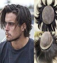 Натуральный черный тонкий моно по периметру ПУ мужской парик натуральные волосы 100% человеческие волосы заменяемые Мужские t-системы для му...