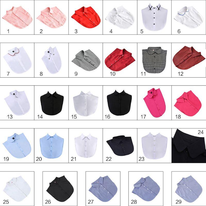 29 Styles Women Detachable Fake False Collar Solid Color Retro Plaid Check Chiffon Half Shirt Blouse Adjust Clothes Accessories