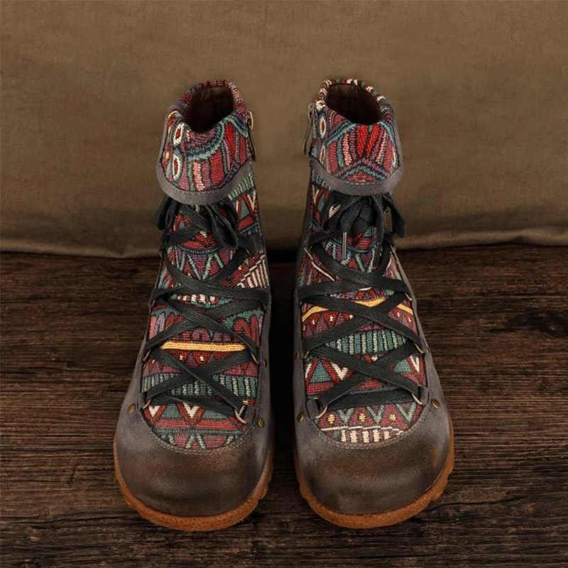 Kadın bayanlar Retro bohem tarzı ayak bileği Zip kısa çizmeler patik rahat ayakkabılar bayan botları Botas mujer invierno 2020