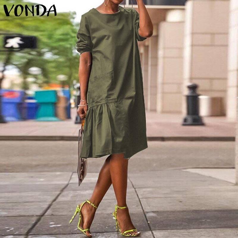 VONDA Vintage Knee-Length Dress 2020 Summer Casual Solid Color Bohemian Vestidos Office Ladies Women Half Sundress Plus Size 6XL