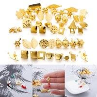 10 Uds geométrico Acero inoxidable ronda pendiente pendientes de oro pendientes de Base con pendiente conectores macho para la fabricación de la joyería DIY
