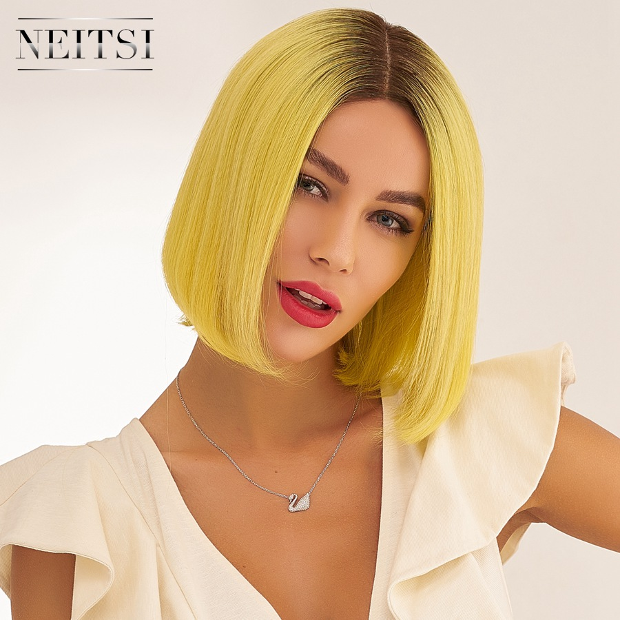 Neitsi Pre Plucked Half Lace Remy Human Hair Bob Wigs Natural Hairline Short Wig 10