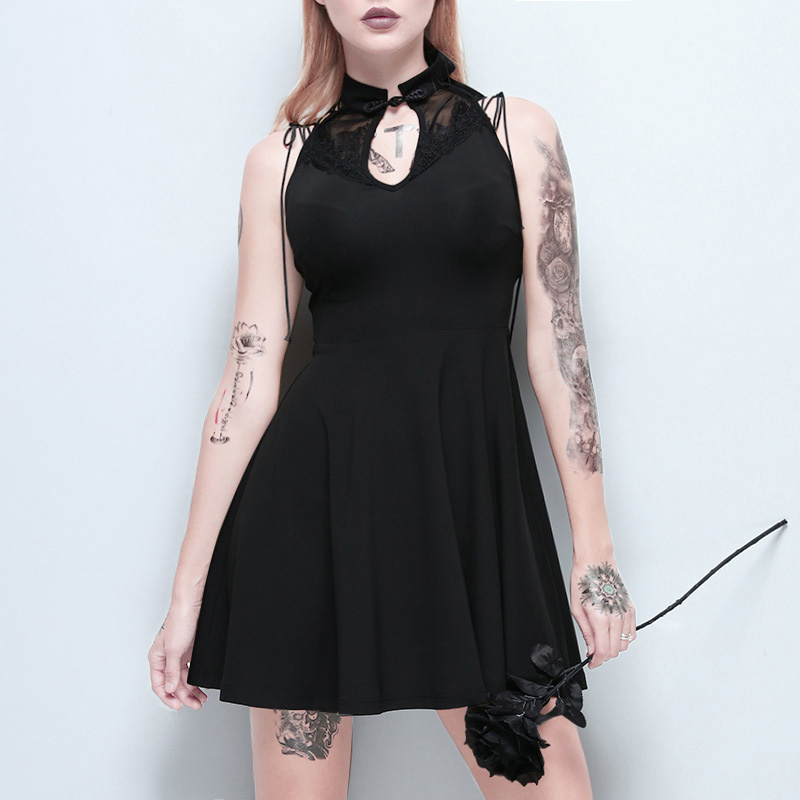 Fitshinling Lace Patchwork Vintage Gothic Dresses Women Vintage Slim Sexy Sleeveless Vestidos Goth Dark Black Dress Female Sale in Dresses from Women 39 s Clothing