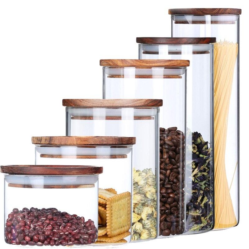 Прозрачная термостойкая стеклянная бутылка герметичная банка высокого качества акации прозрачный контейнер с деревянной крышкой кухонна...
