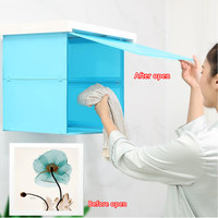 Bathroom Foldable Wall Clothes Locker Waterproof Poster Picture Painting Decorative Paintings Clothing Storage Rack Home Decor