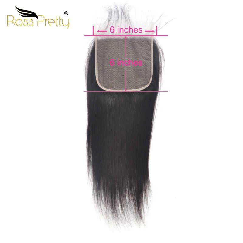 Koronka zamknięcie 6x6 peruwiańskie proste włosy wstępnie oskubane zamknięcie jasnobrązowy przejrzyste koronki Remy ludzki włos naturalny kolor czarny