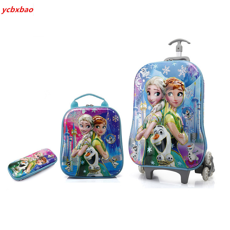 Children's School Bag With Wheels Trolley Bag Cartoon Children's School Bag Kids Backpack Boys  Bags For Girls Children Backpack