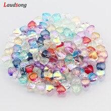 6mm Multicolor AB distanziatore cuore perline perline di vetro ceco per gioielli che fanno accessori fatti a mano braccialetto collana fai da te