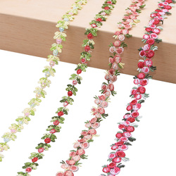 2Yards Flower Embroidered Lace Trim Ribbons Fabric Trim DIY Sewing Handmade Craft Materials Clothes Accessories Home Decoration