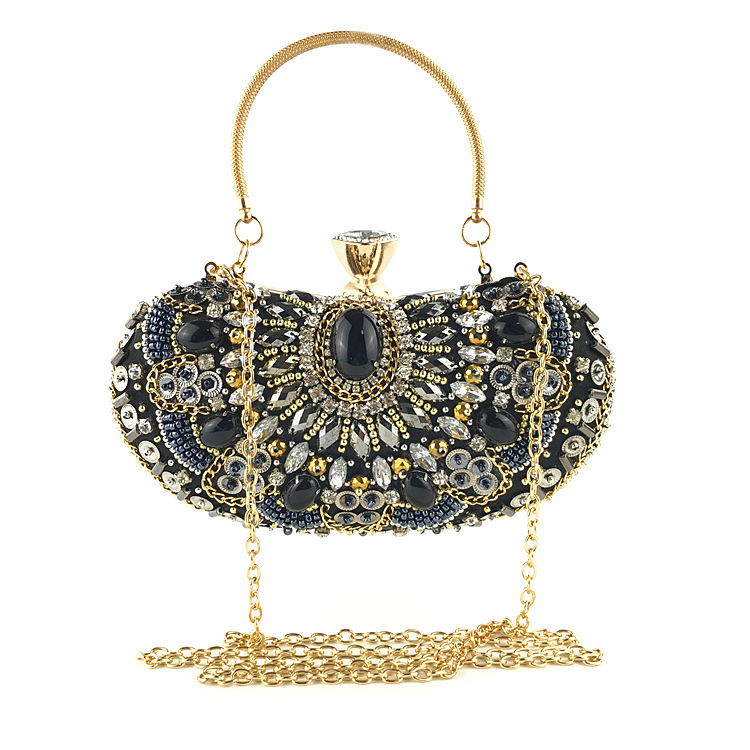 Dinner-Bag Hand-Embroidered Diamond Fashion Women's Dress Slant Inlaid Bag.
