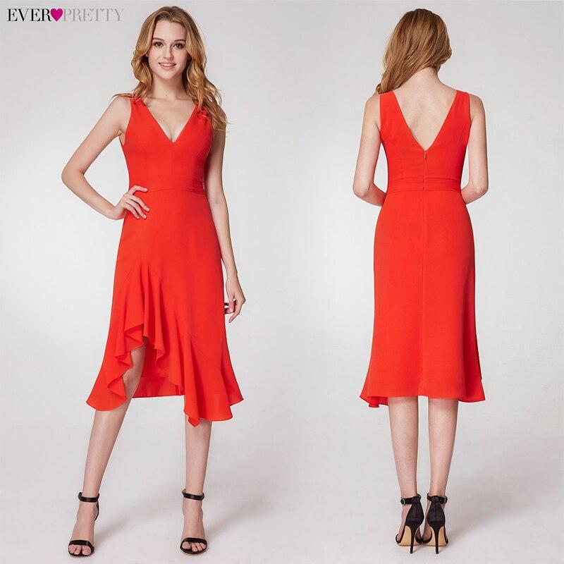 Пикантные Вечерние платья Длинные Ever Pretty EP07247OR А-силуэт v-образный вырез безрукавный с Боковым Разрезом Простые Вечерние платья Lange Jurk