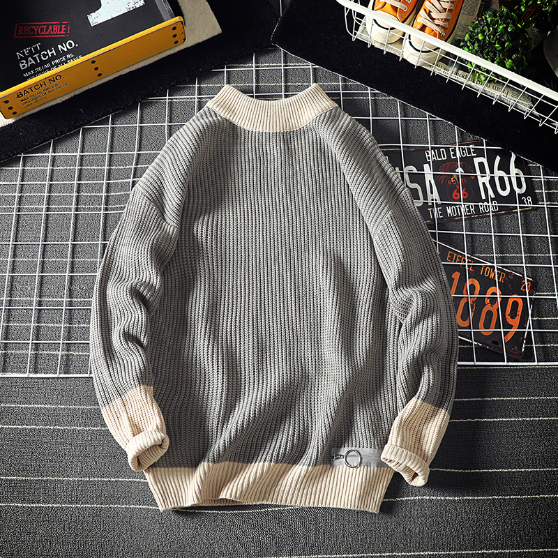 Sweater Men's Warm Fashion Contrast Casual O-Neck Knit Pullover Men Wild Loose Knitting Sweaters Male Sweter Clothes M-2XL