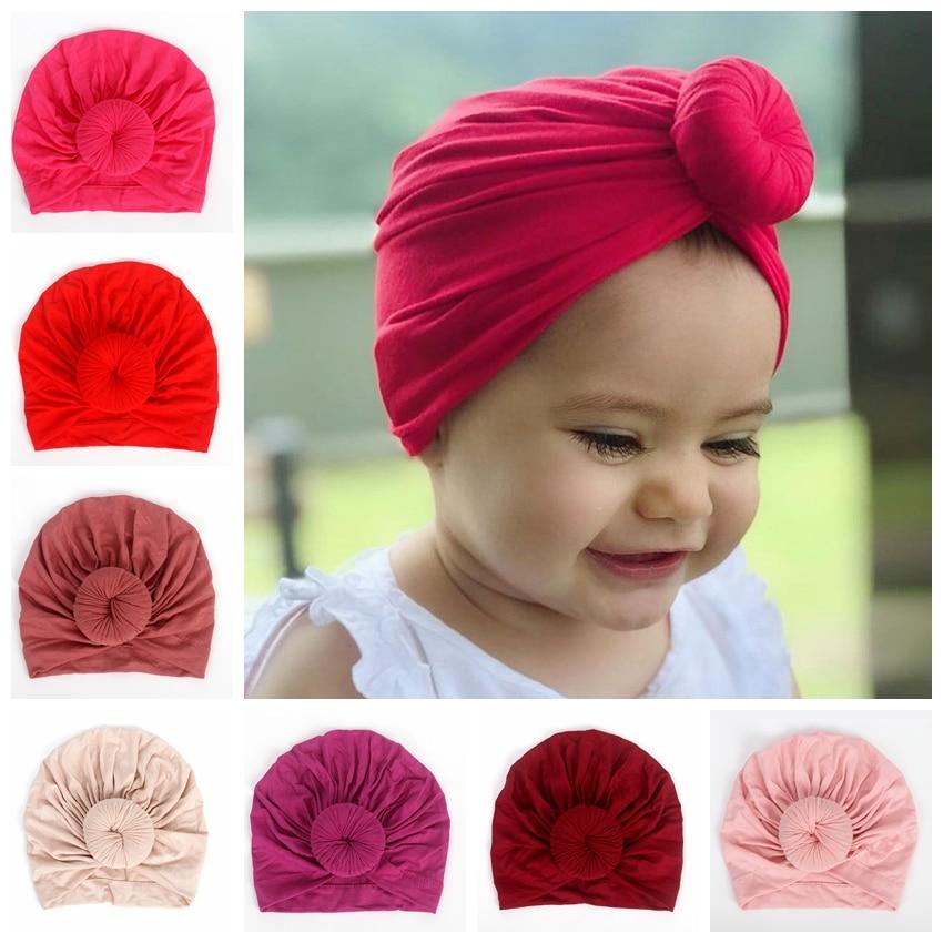 New Knot Round Ball Infant Newborn Caps Cotton Blend Nylon Turban Girls Stretchy Beanie Hat Baby Kids Hair Accessories Cute Gift