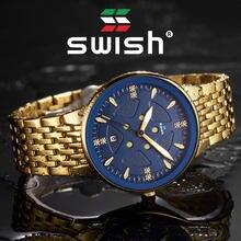 Водонепроницаемые мужские часы swish 2020 с золотым браслетом