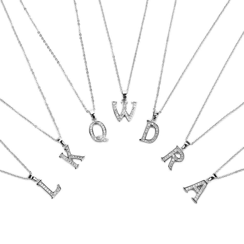 ファッション 2019 新シャイニーキュービッチョーカー 26 手紙アルファベットペンダント初期ネックレス女性の襟の宝石