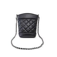 Women crossbody single shoulder small bag high quality soft PU leather black plaid fashion bucket