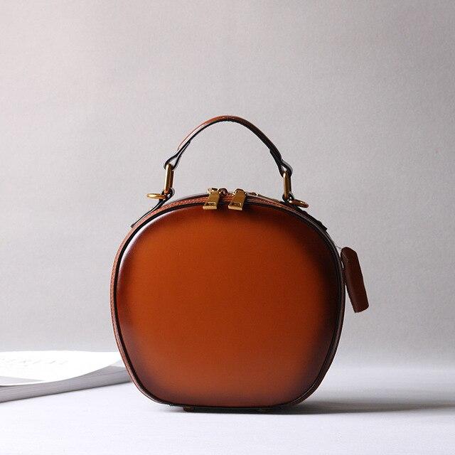2019 новая кожаная сумка в стиле ретро, сумка через плечо, модная маленькая круглая сумка - 2
