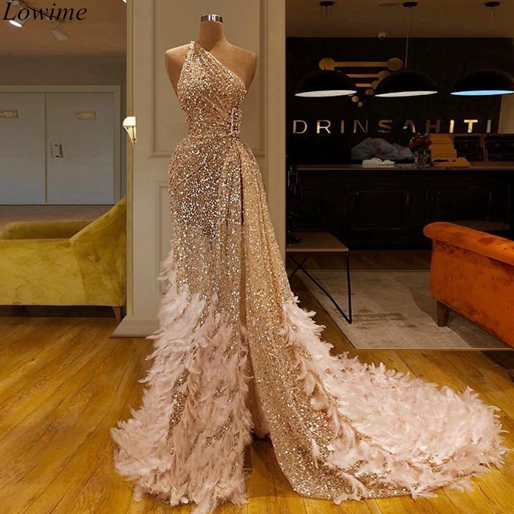 New Arrival Champagne Sparkly Turkish   Prom     Dress   2019 Muslim One Shoulder Evening   Dress   Long vestidos de fiesta Women Party Gown