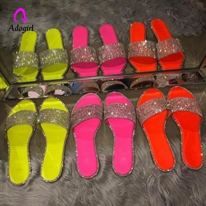 Candy-colored Slippers 2020 Sparkling Rhinestone Women Home Flip Flop Casual Shoes Snakeskin Diamond Flat Outdoor Wild Sandals