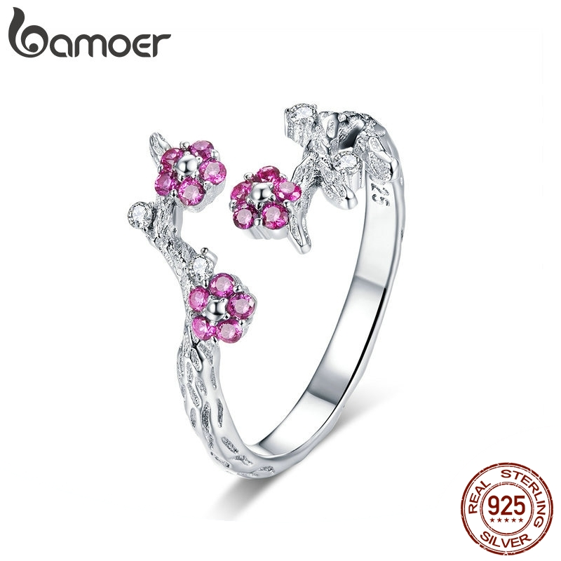 BAMOER 100% 925 Sterling Silver Winter Blooming Plum Flower Open Size Rings For Women Wedding Engagement Jewelry BSR022