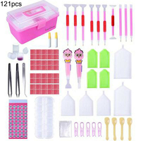 122 pieces design diamond painting kit, LED pen cross stitch accessories, diamond embroidery storage box set for DIY crafts