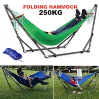 Folding Hammock Stand Bag Set 250KG Portable Steel Pipe Sleeping Swing Garden Outdoor Furniture Hunting Camping Accessories Kit