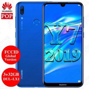 Image 1 - FCCID הגלובלי גרסת Huawei Y7 2019 Mobilephone 6.26 אינץ 3GB 32GB DUB LX1 כפולה ה SIM אוקטה Core פנים נעילה AI מצלמה