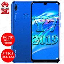 FCCID Version mondiale Huawei Y7 2019 téléphone portable 6.26 pouces 3GB 32GB DUB LX1 double SIM Octa Core visage déverrouillage caméra AI