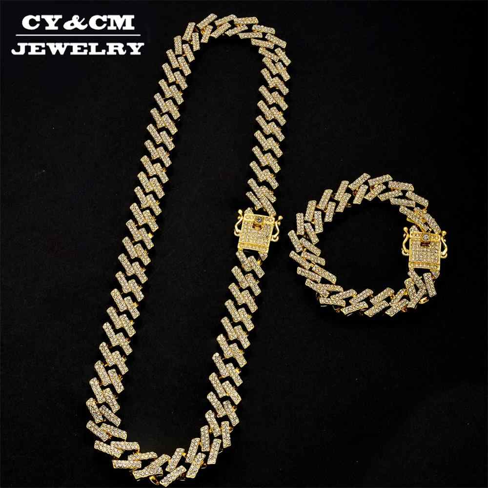 15mm Color oro plata pulseras Hip Hop helado Miami Cuban Link Chain para hombres Bling Crystal strass CZ Jewelry