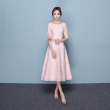 AE712 Pink Elegant Round Neck Half Sleeve Lace Evening Dress Tea-length Apricot Formal Dress Vestido Fiesta Noche(China)