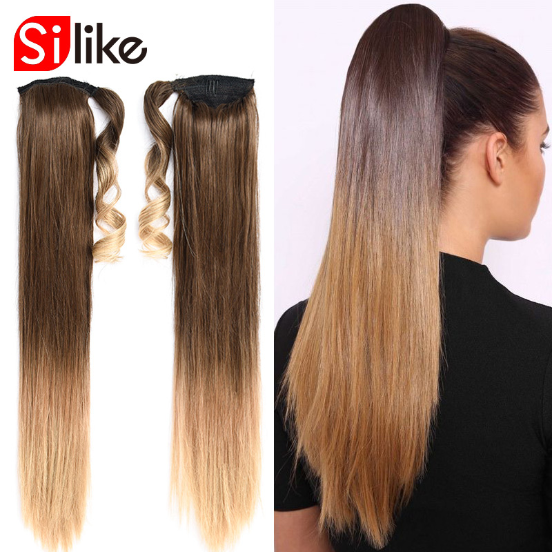 Silike 24 inch Silky Straight Synthetic Clip in Drawstring Ponytail Hairpieces for Women Hair Extension High Temperature Fiber