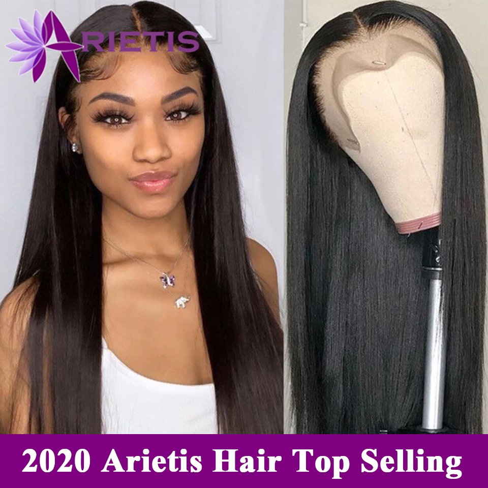 Arietis 13x6 Lace Front Human Hair Wigs Indian Straight Hair Wig Pre-plucked With Baby Hair For Black Women 4x4 Lace Closure Wig