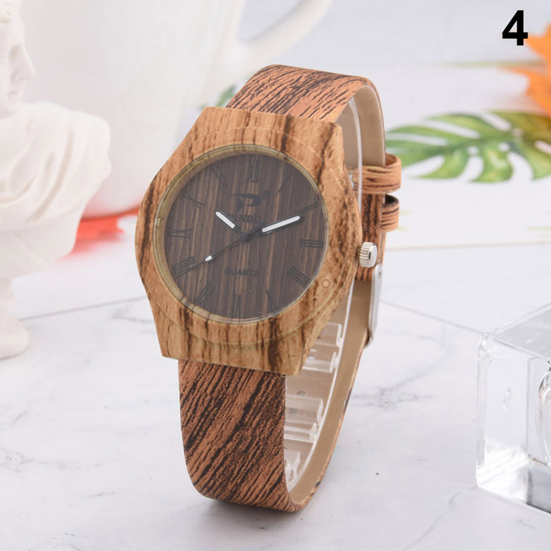 Men Women Quartz Watch PU Leather Wood Pattern Wristwatch Student Sport Casual Watches SER88