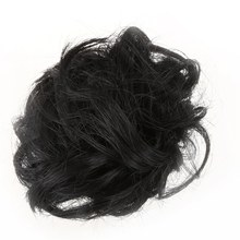 CURLY SCRUNCHIE HAIR EXTENSION PONYTAIL HAIR PIECE WRAP UPDO BUN - Black(China)