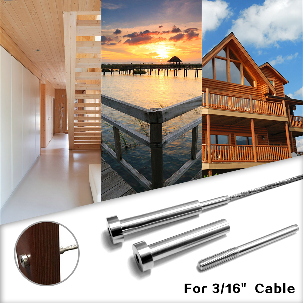 5PCS Stainless Steel Cable Railing End Fitting Terminal Invisible Receiver Stud End  Swage 1/8 Cable Wire Rope