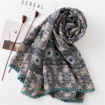 Tassel Cotton and Linen Scarf Women's Summer Long Beach Towel  Shawl Chiffon Soft Wrap Ladies Shawl Scarves Accesorios chic exuberant peonies and leaves pattern shawl wrap chiffon scarf for women