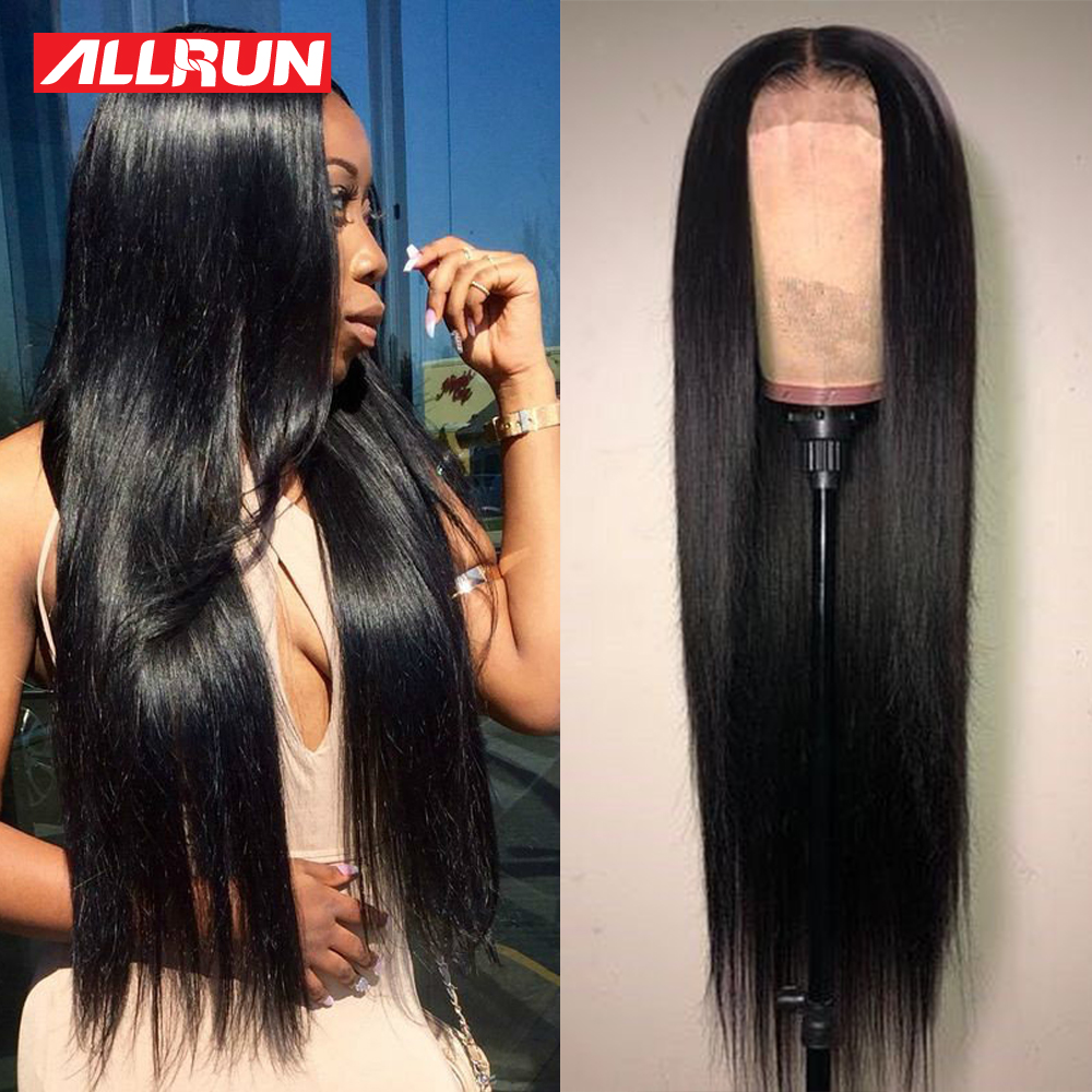 Brazilian 4x4 Lace Closure Wig Lace Human Hair Wigs Straight Per-Plucked With Baby Hair Non Remy Natural Hairline