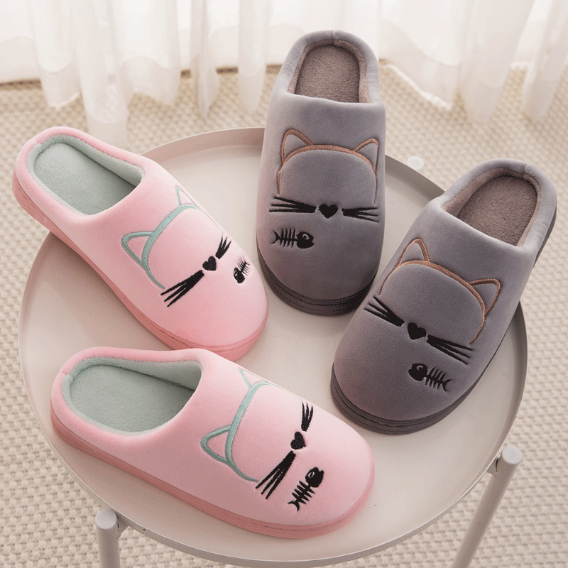 SFIT Cute Winter Home Slippers For Couple Casual Cartoon Cat Soft Flufyy Flat Shoes Plus Size Slip On Indoor Slippers Women
