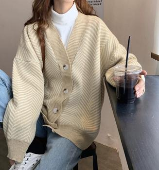 цена на Zebra warm cozy Knitted Striped Cardigan Sweater Women Patchwork Top Autumn Winter 2020 Long Sleeve Casual Outwears V Neck