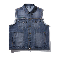 7XL Big size New Style Men's denim vest men's spring cotton blue slim jacket vests sleeveless waistcoat denim jacket outerwear