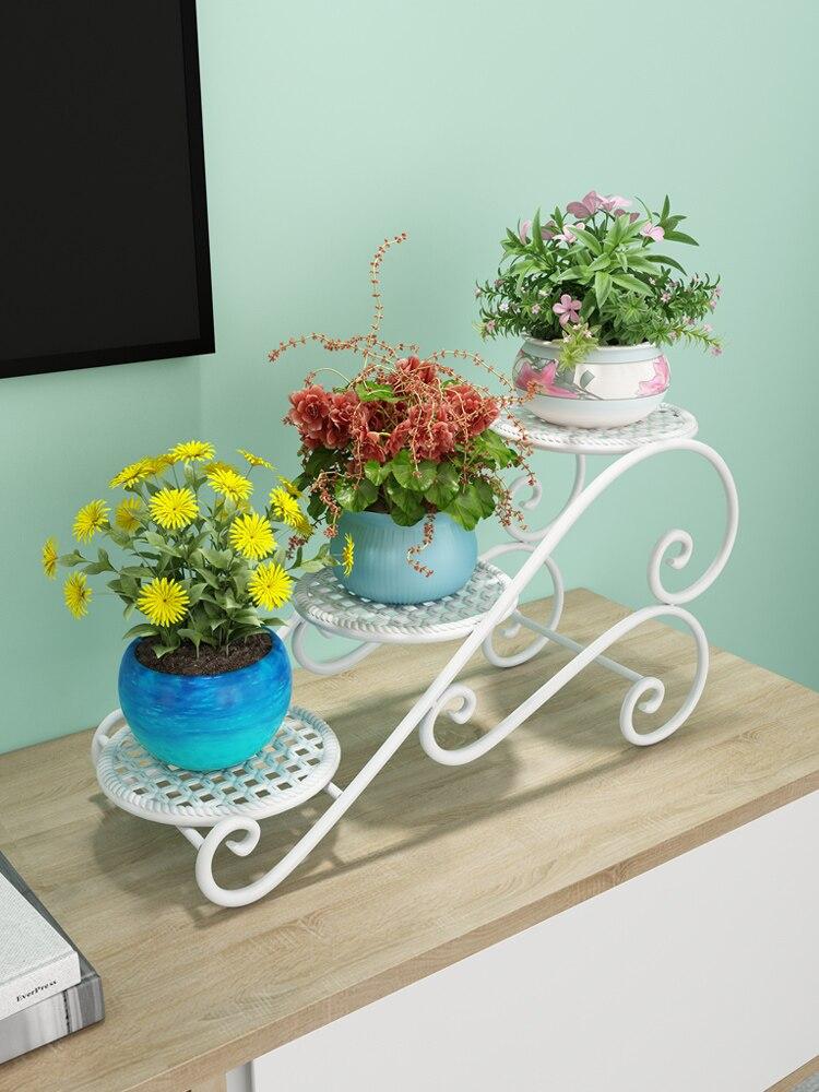 Iron Flower Shelf Rack Floor Type Home Multi-storey Indoor Simple Flower Pot Rack Living Room Balcony Flower Shelf
