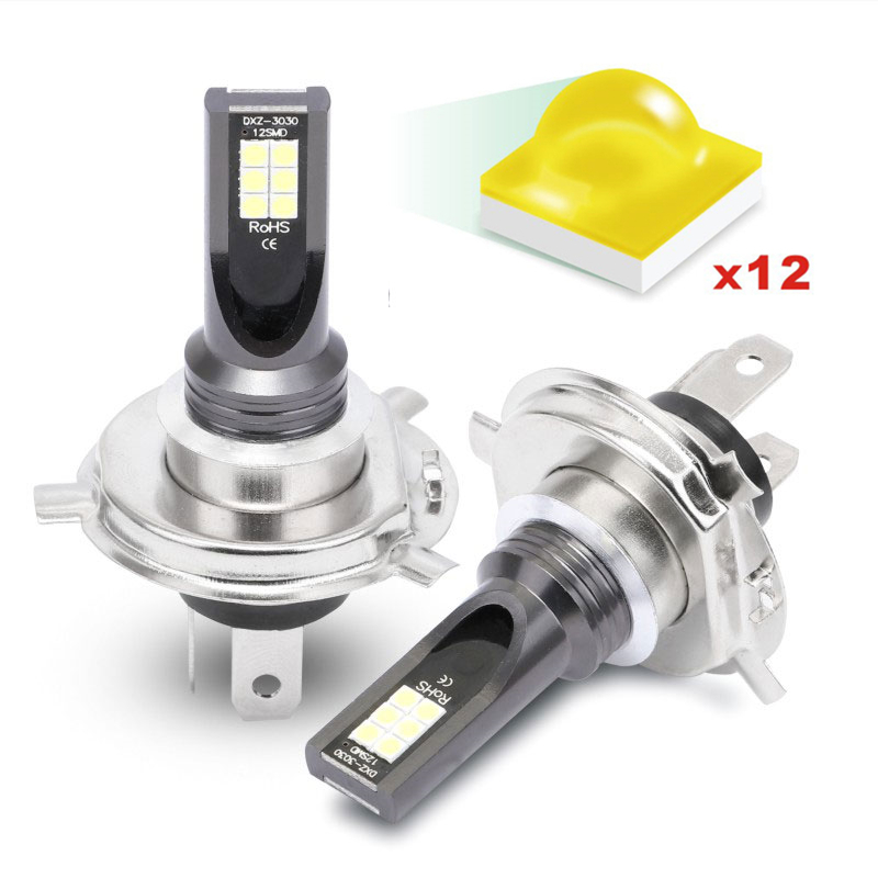 MINI 2PCS Canbus Car H1 H3 Headlight H4 H7 LED H11 9005 9006 Bulb Headlamp Light 6500K 48W 1600LM Automotivo Auto Fog Light Lamp