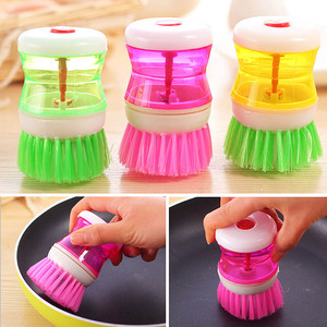 Kitchen Dish Brush With Liquid Soap Dispenser Plastic Pot Dish Cleaning Brush Home Cleaning Products Kitchen Washing Utensils(China)