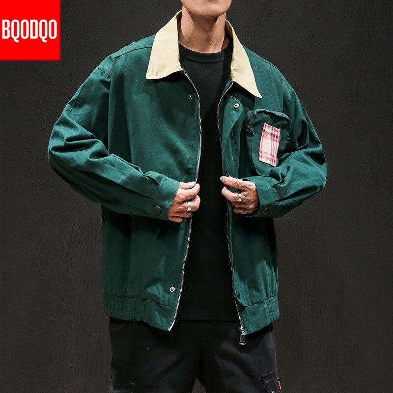 BQODQO Cotton Military Army Autumn Men's Clothing Turn-down Collar Fashion Hip Hop Jacket Streetwear Men Loose Jackets PLUS SIZE
