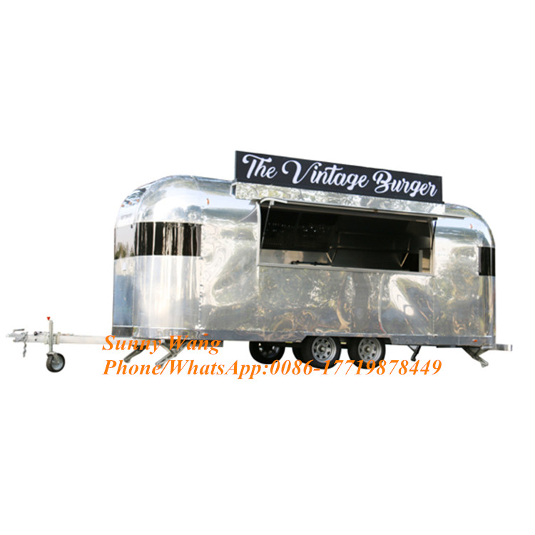 Food Truck Fast Food Restaurant  Stainless Steel Mobile Kitchen Food Cart For Sale With All Kitchen Equipment