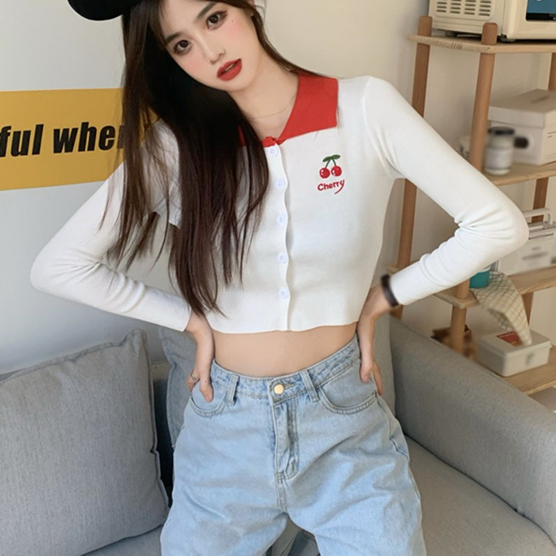 Autumn Long-sleeved Embroidery Knitted Cardigan Sweet Girl Cherry Print Thin Sweater Lazy Style Women Short Top image