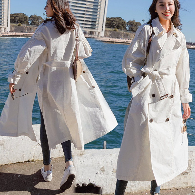 2018 Women Long Solid White   Trench   Single Lightweight Coat With Belt Female Slim Full Sleeve Turn-down Collar Casual Overcoat