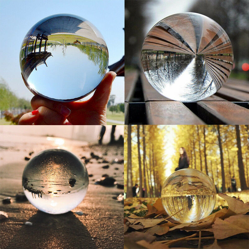 30-80mm Clear Glass Crystal Decorative Ball Healing Sphere Photography Prop Artificial Transparent Crystal Ball Craft Home Decor