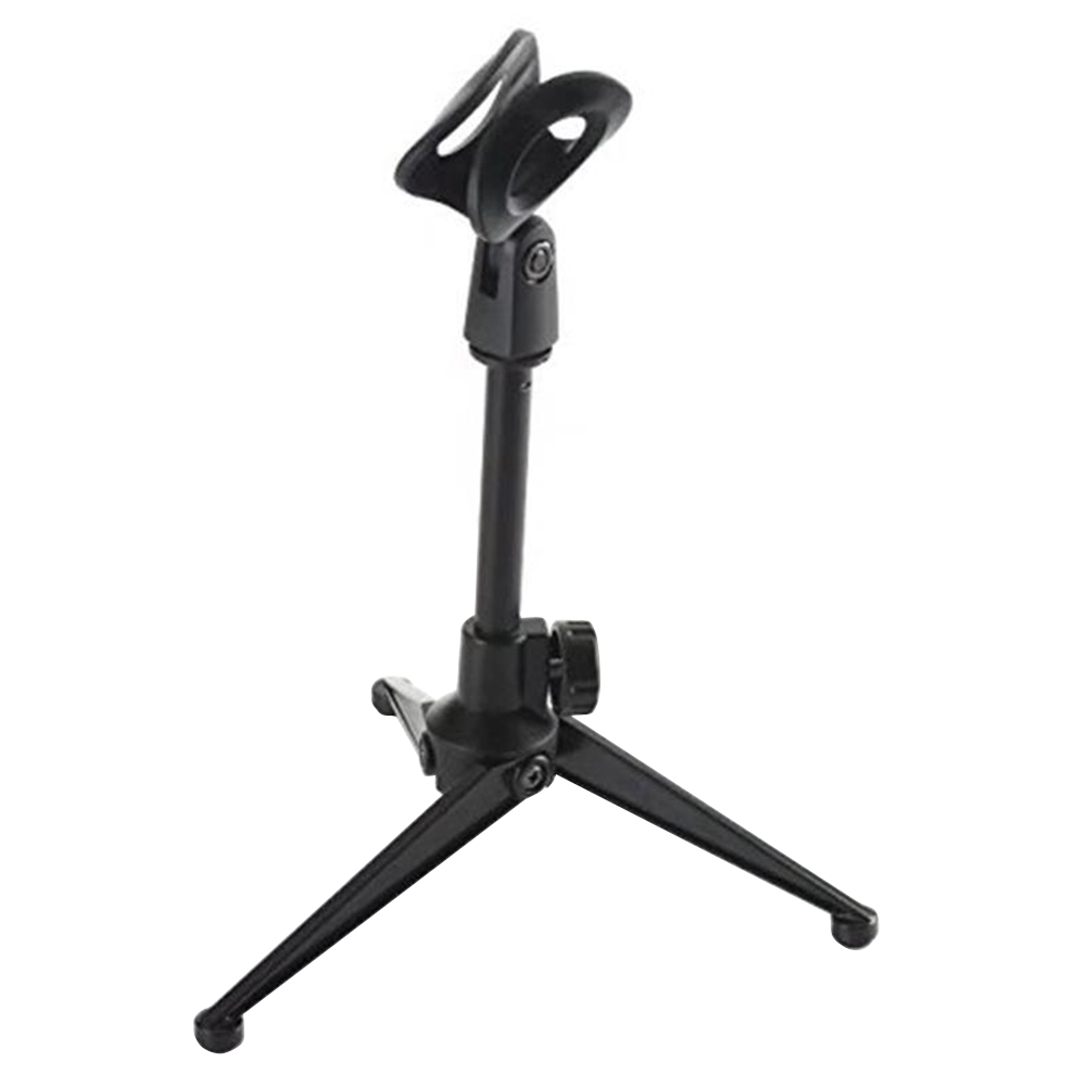 Microphone Holder Foldable Desktop Microphone Tripod Stand Height Adjustable Karaoke Holder with Mic Clip