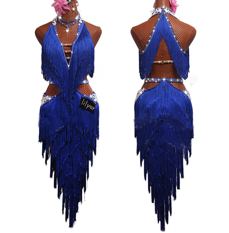 New Latin Dance Competition Dress V-Neck V-Back Performing Dresses Dancing Skirts Blue Fringed Dress Dance Clothes Women BL2549